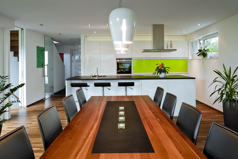 moderne innenarchitektur einfamilienhaus, wohnhaus, feldkirch, l-form, moderne architektur, möbel, Design ideen